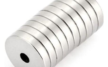 Neodymové magnety s dírkou 12 x 3 mm - 10 ks