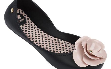 Zaxy černé balerínky s pudrovou kytkou Start IV Fem Black/Pink - 39