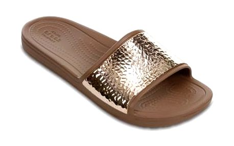 Crocs hnědé pantofle Sloane Embellished Slide Bronze - W9