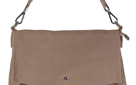 Šedohnědá kožená kabelka Giulia Bags Lilo - doprava zdarma!