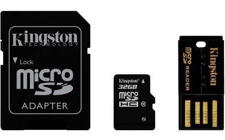 Kingston Micro SDHC 32GB Class 10 + SD adaptér + USB čtečka - MBLY10G2/32GB