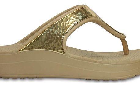 Crocs dámské žabky na klínku Sloane Embellished Flip Gold - W9
