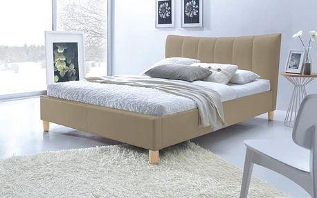 Phily - Postel 200x160, rám postele, rošt (béžová/nožky buk)