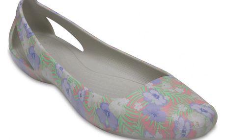 Crocs šedé baleríny Sienna Graphic Flat Light Pink/Floral - W9