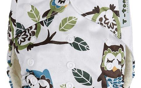 T-TOMI Bambusová kalhotková plena AlO + 2 bambusové vkládací pleny, bílé sovy