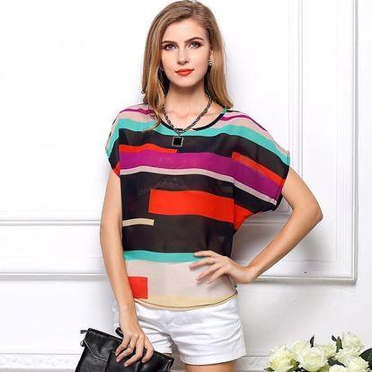 Dámské triko s atraktivním barevným motivem -velikost č. 6