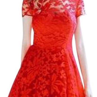 Dámské elegantní krajkované módní šaty - červená, vel. 4