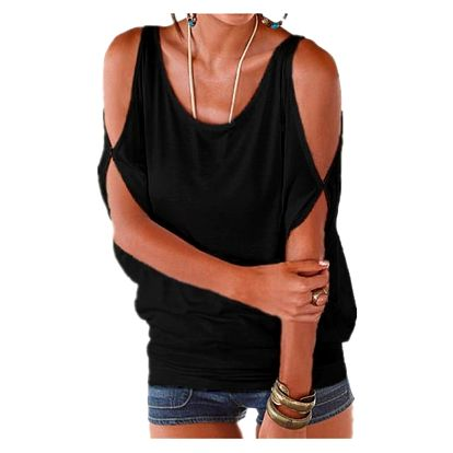 Dámské plus size tričko s otvory na ramenou - černá, velikost 2