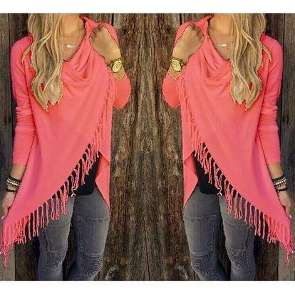 Dámský svetr na způsob ponča - třásně - varianta růžová, velikost 2