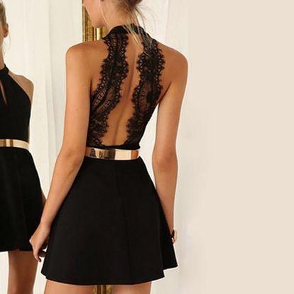 Černé elegantní šaty s holými zády - dodání do 2 dnů