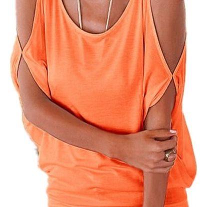 Dámské plus size tričko s otvory na ramenou - oranžová, velikost 5