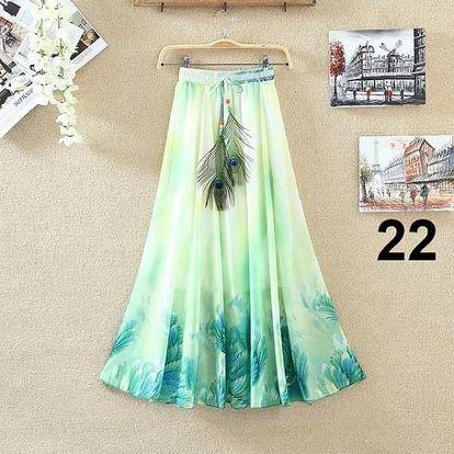 Lehoučká dlouhá sukně na jaro i léto - varianta 22