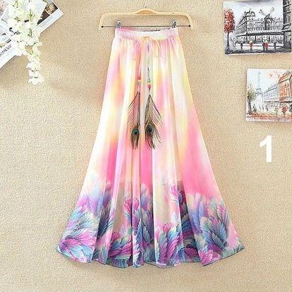 Lehoučká dlouhá sukně na jaro i léto - varianta 1