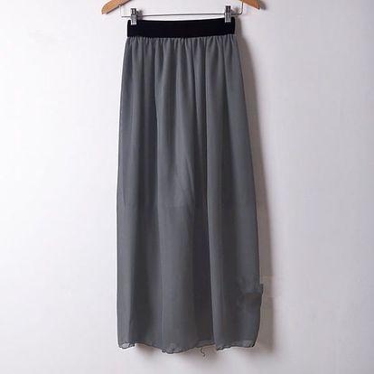 Letní barevná šifonová sukně - šedá