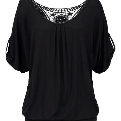 Dámské tričko s krajkovými květy na zádech - černá, velikost 5