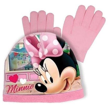 Souprava čepice a rukavice Minnie Mouse - světle růžová