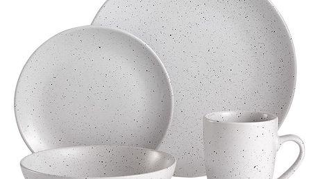 16dílný bílý kameninový jídelní servis Ladelle Speckle - doprava zdarma!