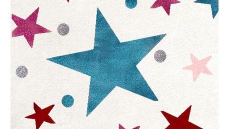 Bílý dětský koberec s barevnými hvězdami Happy Rugs Stars, 80x150cm - doprava zdarma!
