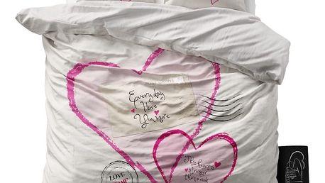 Povlečení z mikroperkálu Sleeptime Post Love, 200x220cm
