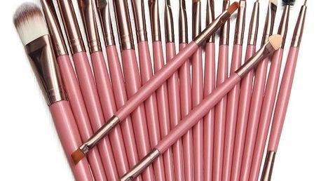 Sada 20 kosmetických štětců - růžová, stříbrná