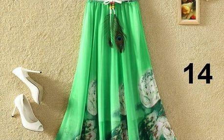 Lehoučká dlouhá sukně na jaro i léto - varianta 14