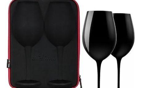 Sada obřích černých sklenic na víno