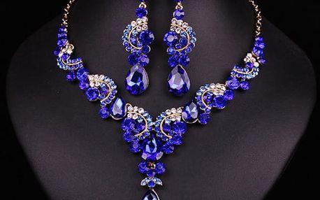 Sada náušnic a náhrdelníku s kamínky - námořnická modrá