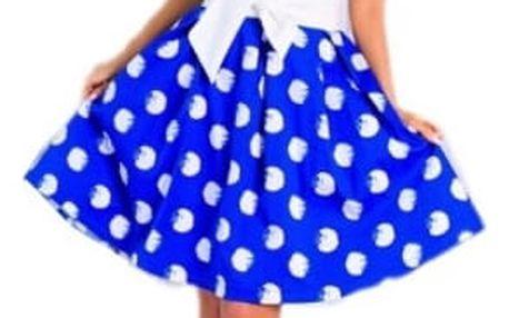 Retro puntíkované šaty pro dámy - modrá, vel. 2