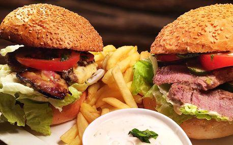 Dva 200g hovězí burgery a hranolky od Čerta