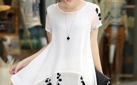 Šifonové prodloužené tričko s květinami - bílá, velikost č. 2