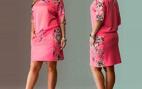 Jarní šaty volnějšího střihu pro plnější postavy - růžová, velikost 9
