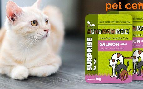 5x lososová kapsička Huhubamboo pro kočičky