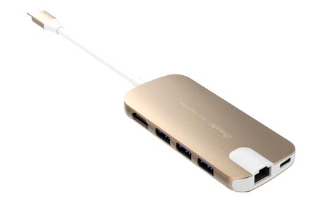 Gmobi Multi-port USB-C Hub HDMI a Ethernet, zlatá - GM-GN30H-Gold