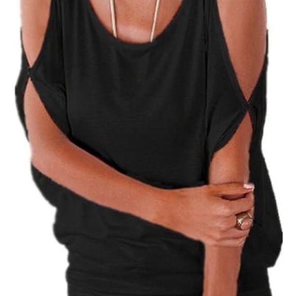 Dámské plus size tričko s otvory na ramenou - černá, velikost 2 - dodání do 2 dnů