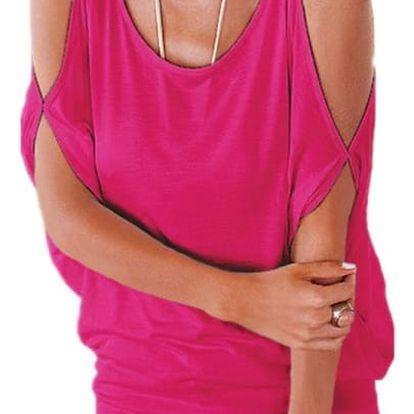 Dámské plus size tričko s otvory na ramenou - tmavě růžová, velikost 3