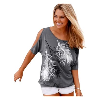 Dámské tričko s odhalenými rameny a peříčky - šedá, velikost 2 - dodání do 2 dnů
