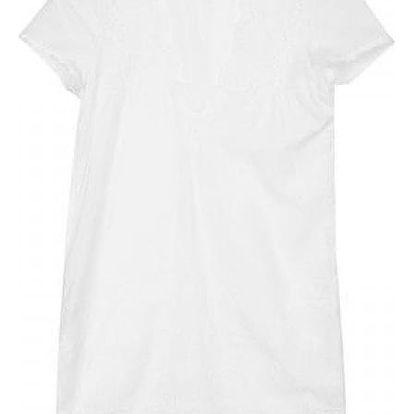 Mini bílé šatičky s krajkou a hlubokým výstřihem - vel. 4