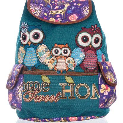 Fashion Icon Dámský batoh se sovičkami lněný