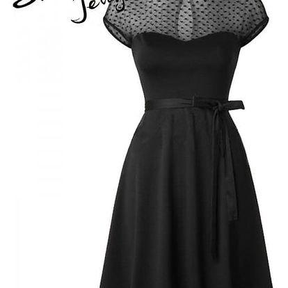 Koktejlové šaty se srdíčkovým detailem - černá, velikost 5