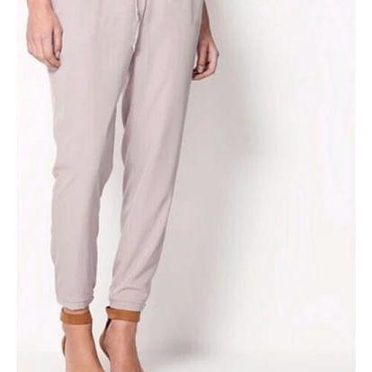 Pohodlné dámské kalhoty z příjemného šifonu - barva šedá, velikost 5
