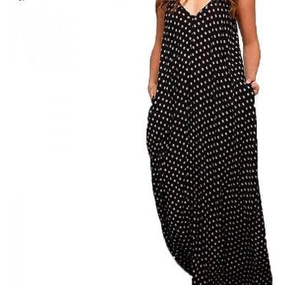 Dámské puntíkované maxi šaty s kapsami - černá, velikost 10