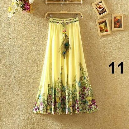 Lehoučká dlouhá sukně na jaro i léto - varianta 11