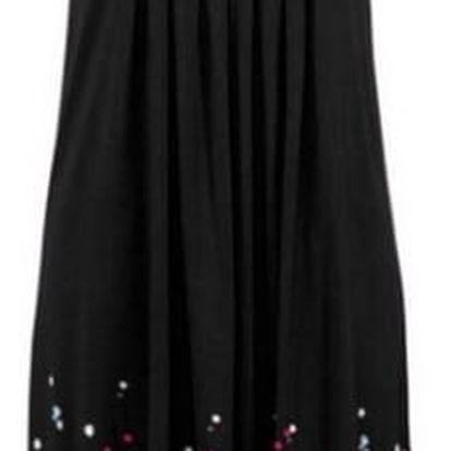 Lehké dlouhé květinové šaty pro ženy - černá, vel. 2