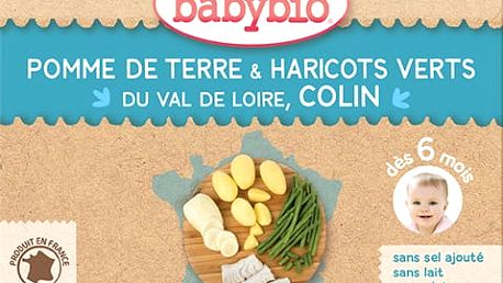 2x BABYBIO Příkrm brambory a zelené fazolky s mořskou štikou 200g - maso-zeleninový příkrm