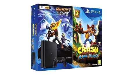PlayStation 4 Slim, 500GB, černá + Crash Bandicoot + Ratchet & Clank - PS719867364