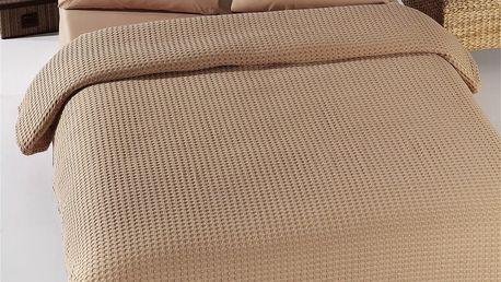 Hnědý lehký přehoz přes postel Pique,200x240cm