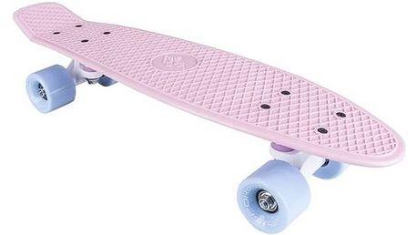 """Penny board Spokey CRUISER 22 x 6"""" 60 x 45 mm růžová, modrá kolečka + Reflexní sada 2 SportTeam (pásek, přívěsek, samolepky) - zelené v hodnotě 58 Kč"""
