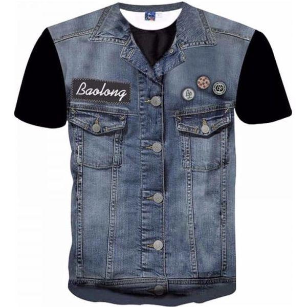 Pánské triko s potiskem džínové vesty