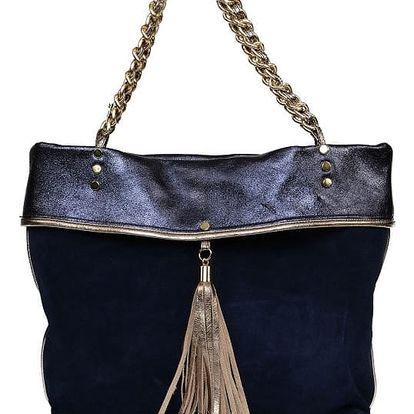 Modrá kožená kabelka Carla Ferreri Prive Collection Saso - doprava zdarma!