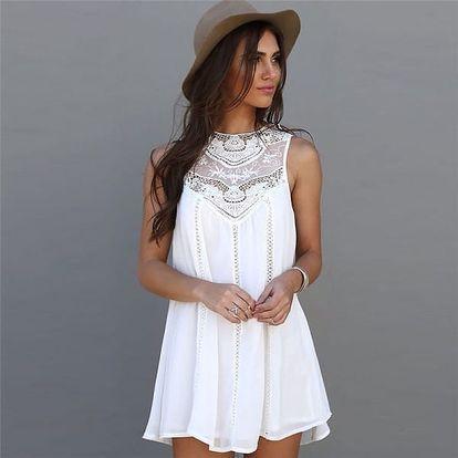 Letní šatičky se zdobeným výstřihem - bílá